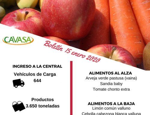Volúmenes ingresados de alimentos CAVASA enero 15 -2020
