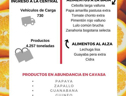 Volúmenes ingresados de alimentos CAVASA marzo 25-2020