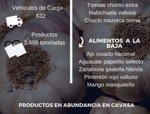 Volúmenes ingresados de alimentos CAVASA Abril 29-2020