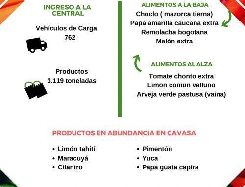 Volúmenes ingresados de alimentos CAVASA Mayo 20-2020