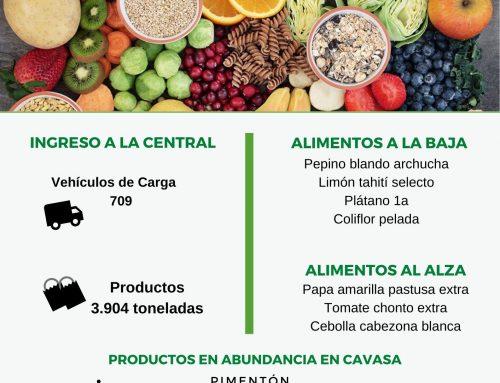 Volúmenes ingresados de alimentos CAVASA Mayo 31-2020