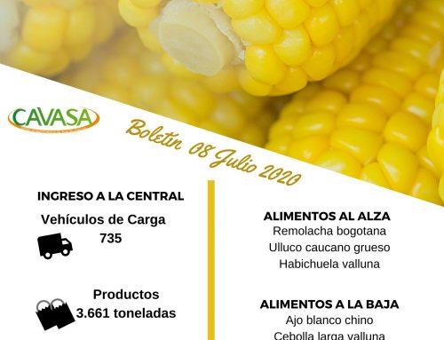 Volúmenes ingresados de alimentos CAVASA Julio 08-2020