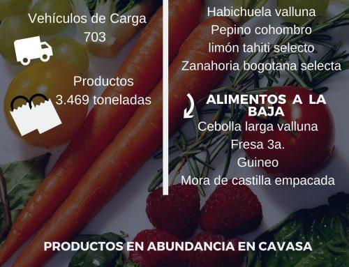 Volúmenes ingresados de alimentos CAVASA Agosto 5-2020