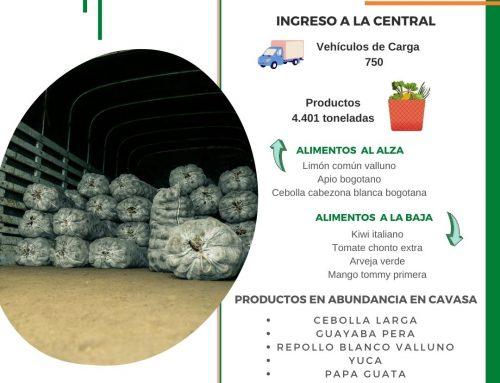 Volúmenes ingresados de alimentos CAVASA Octubre 18-2020