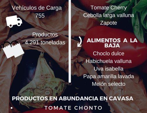 Volúmenes ingresados de alimentos CAVASA Noviembre 29-2020
