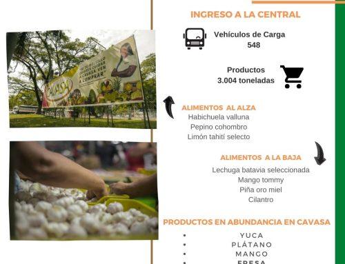 Volúmenes ingresados de alimentos CAVASA Diciembre 27-2020